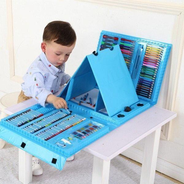 Набор юного художника с мольбертом голубой