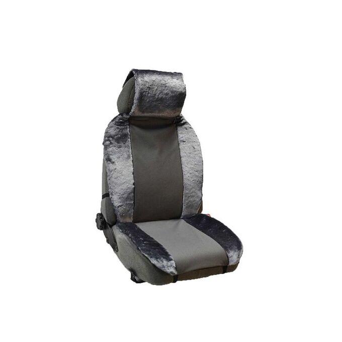 Накидка на полное сидение, экокожа, искусственный мех, серый/серый