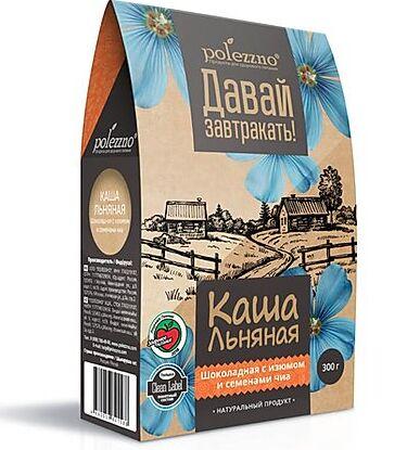 Льняная каша Шоколадная с изюмом и семенами чиа 300 г Полеззно