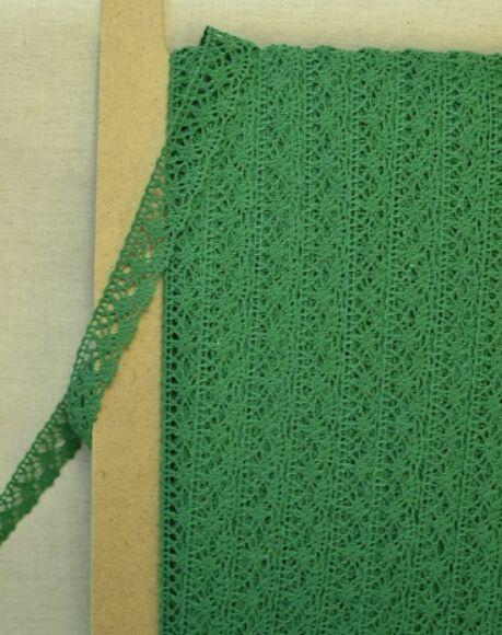 Кружево хлопок-90%, п/э-10%, 20 мм, цв.зеленый