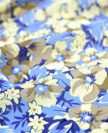 Штапель Цветочные узоры (цв.синий), ш.1.44 м, вискоза-100%, 95 гр/м.кв
