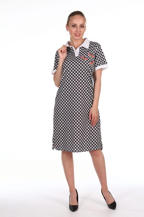 Платье с воротником в мелкую клетку - Соты - 317 - белый