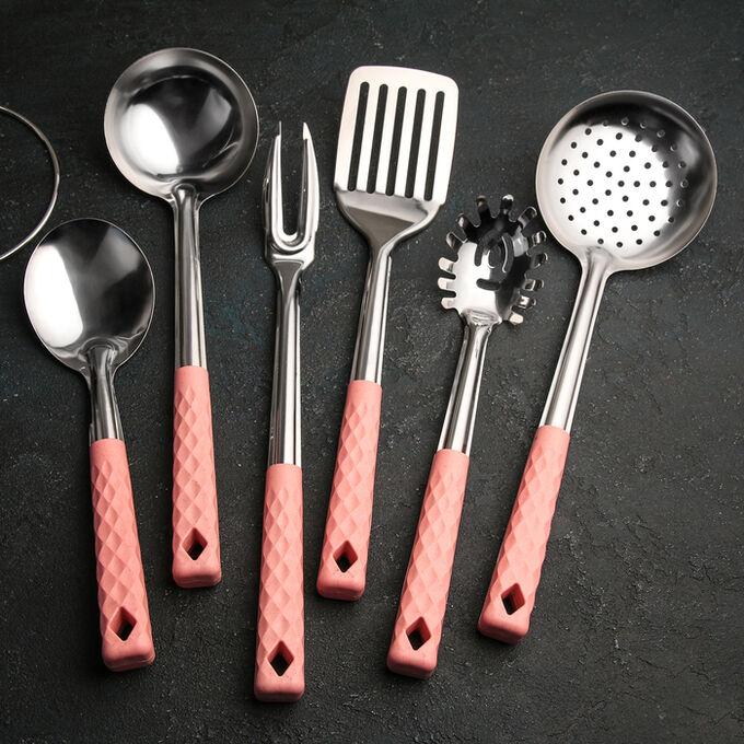 Набор кухонных принадлежностей «Вивьен розовый», 6 предметов, на подставке