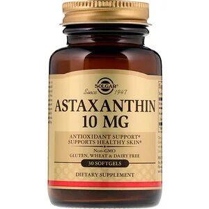 Solgar, Астаксантин, 10 мг, 30 мягких желатиновых кап.