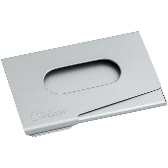 Визитница карманная Delucci из алюминия серебристого цвета, легкий доступ, подарочная упаковка