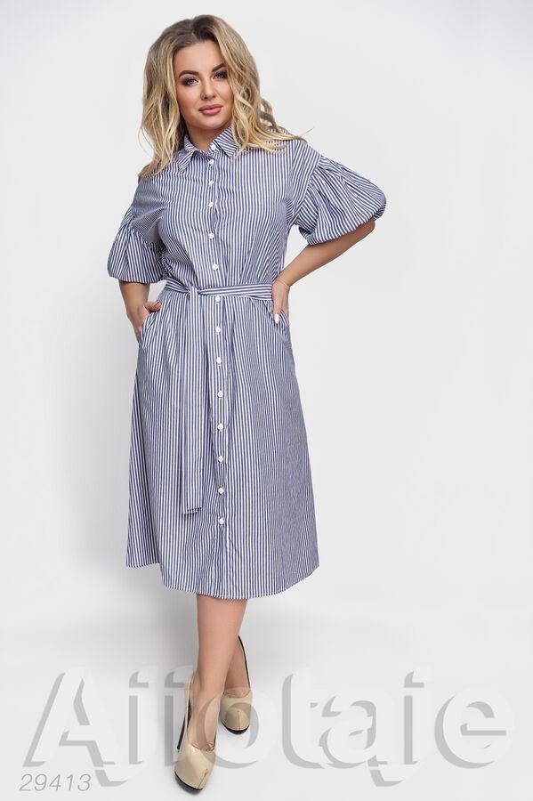 Хлопковое платье в полоску с коротким рукавом