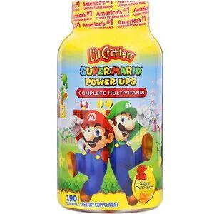 """L'il Critters, Комплекс мультивитаминов """"Подпитка Super Mario"""", натуральный фруктовый вкус, 190 жевательных таб."""