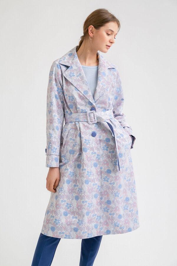 #95907 Плащ (Emka Fashion) серый, синий, бледно-розовый