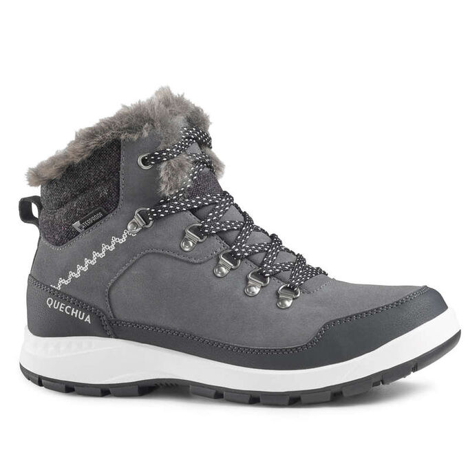 Ботинки кожаные теплые водонепроницаемые походные женские SH500 X-WARM