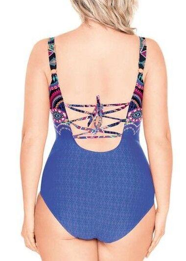 Купальник Красивый женский слитный купальник тёмно-синего цвета со шнуровкой на спине. Скрытая мягкая чашка на каркасах. V-образный вырез визуально удлиняет шею. Принтованный рисунок визуально делает