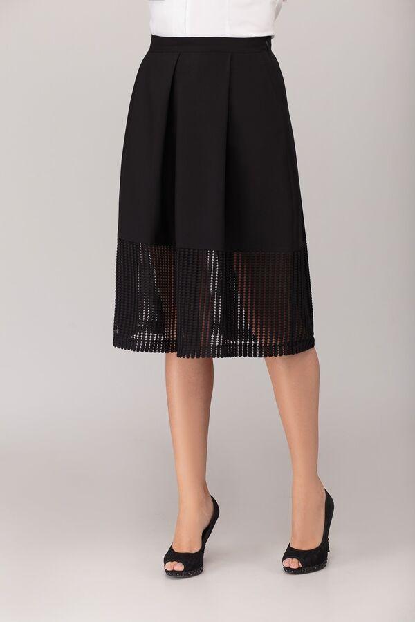 Юбка миди Полиэстер 96% спандекс 4%Рост: 164 см. Юбка женская, на притачном поясе, с крупными складками, наклонными боковыми карманами, с застёжкой на потайную тесьму молнию в боковом шве, с притачной