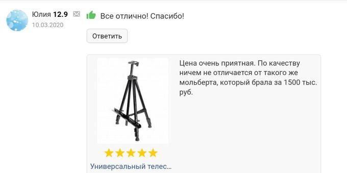 Универсальный телескопический мольберт