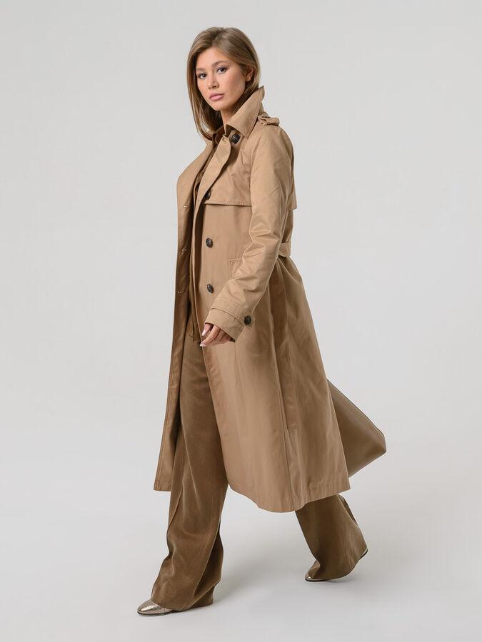 Плащ т-синий, олива, кэмел, бежевый, Плащ — удобная одежда на весну, летний холод после дождя или на тёплую осень. Классический удлинённый женский плащ, сшитый из натурального хлопка как нельзя придёт
