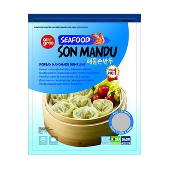 Дамплинги с морепродуктами Seafood Son Mandu, замороженные, Allgroo, 540г