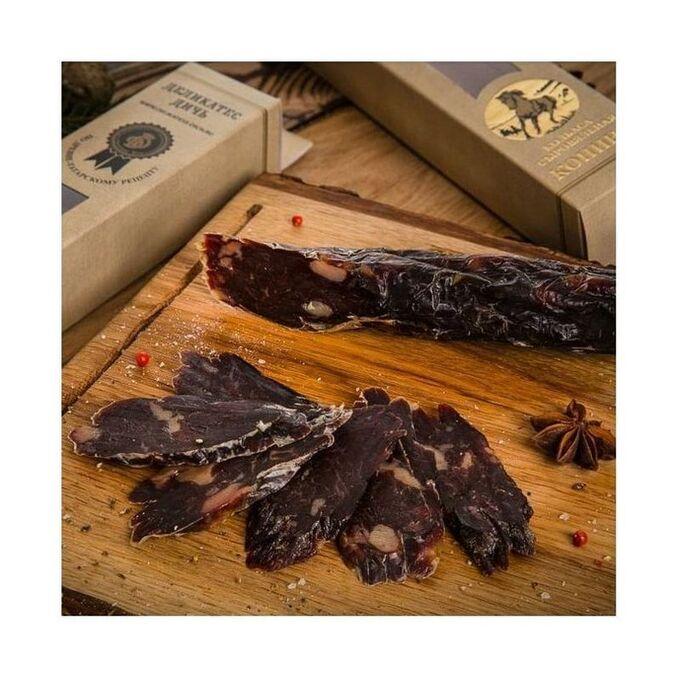 Колбаса из конины сыровяленая по-старотатарски в подарочной упаковке, Деликатес Дичь, 300г