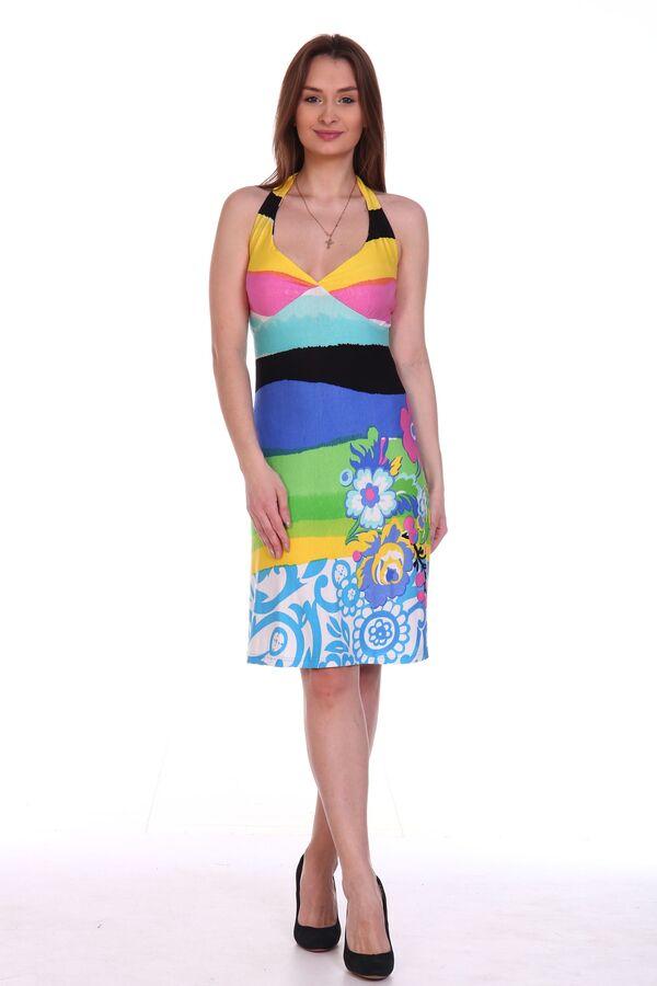 """Сарафан Короткий пляжный сарафан модного облегающего силуэта с открытой спиной. Лиф выполнен с подрезом """"чашка"""" с лентами для завязывания на шее. Данную модель отличает удивительно яркая и красивая ра"""