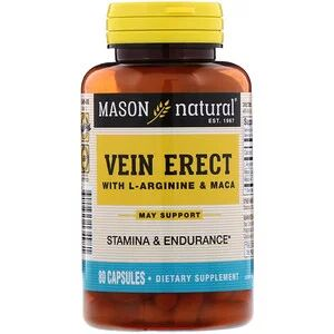 Mason Natural, Vein Erect с L-аргинином и макой, 80 кап.