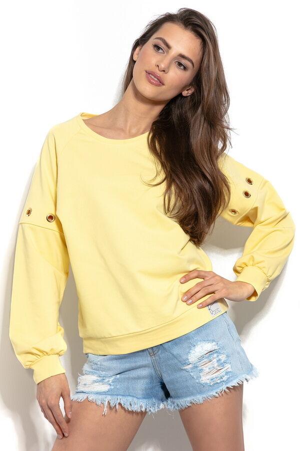 1к Блуза Fobya f940 лимон хлопок  Удобная толстовка с круглым вырезом горловины и декоративными кружочками на рукавах - идеальное предложение для ценителей комфорта, спортивного стиля и безупречного п
