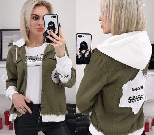 Куртка Джинсовая куртка. Съемный трикотажный капюшон. В размер.