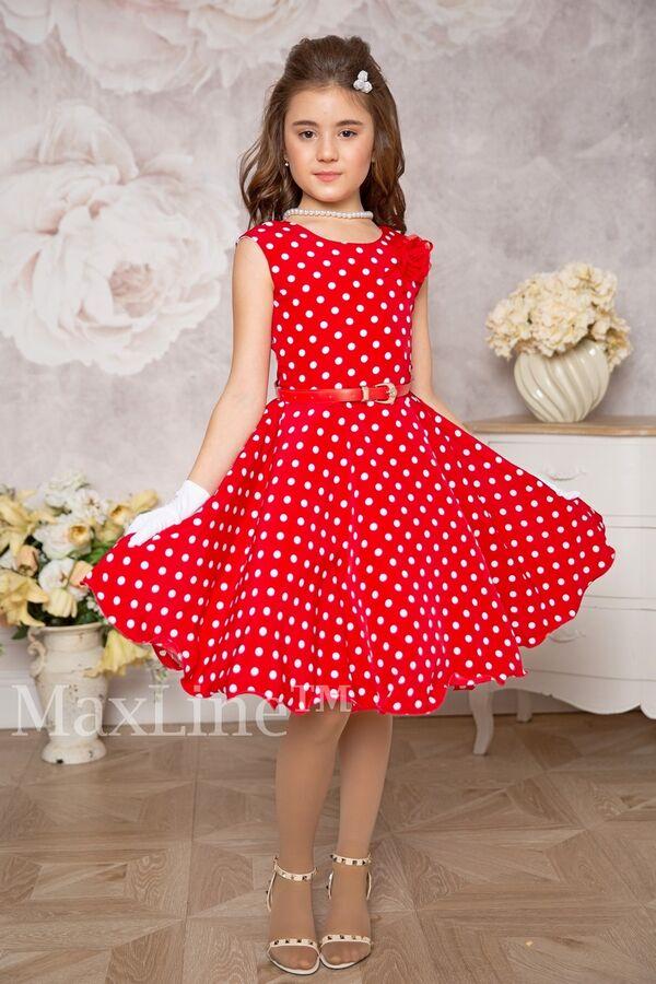 Дженис Красноедетское платье в мелкий горох в ретро стиле Стиляги Модель со шнуровкой на спине, имеет пышный вшитый подъюбник из фатина, полностью на натуральной подкладке. В комплекте: ремень, съемны