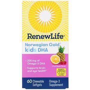 """Renew Life, """"Норвежское золото"""", ДГК для детей, фруктовый вкус, 60 жевательных мягких кап."""