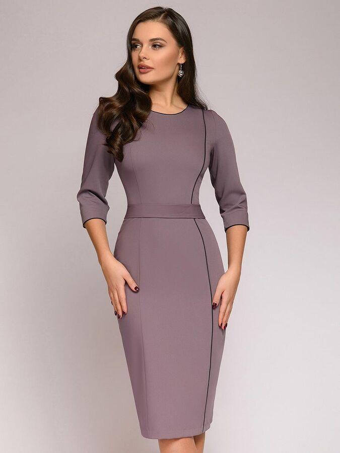 Платье-футляр цвета мокко длины миди с контрастным кантом в Хабаровске