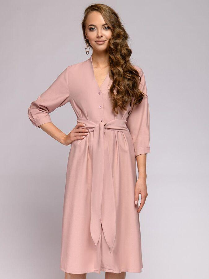 Платье длины миди цвета пыльной розы на пуговицах с рукавами 3/4 в Хабаровске