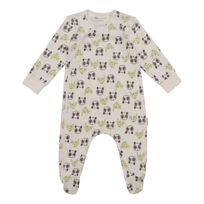 Комбинезон для мальчика, молочный набивка панды