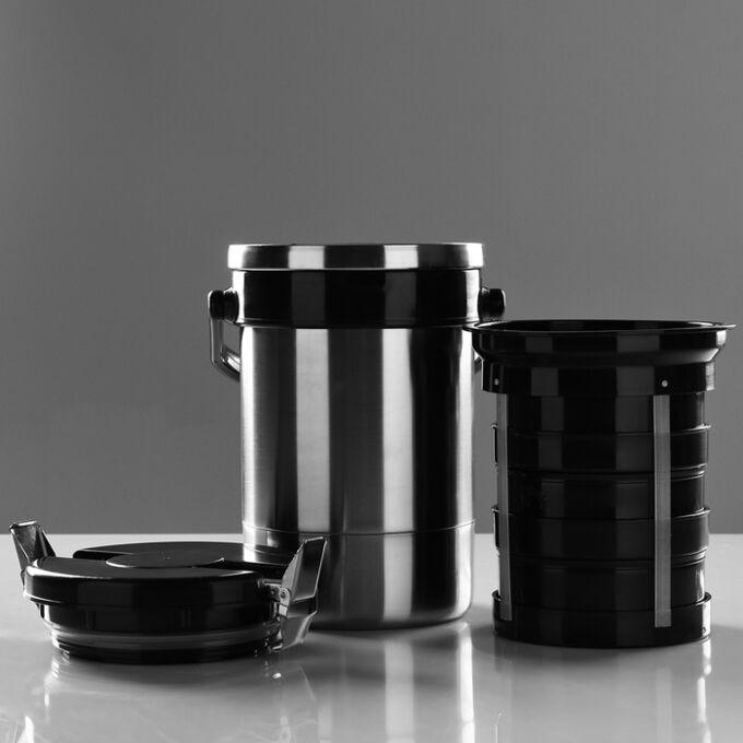 """Термос для еды """"Экспресс"""" 1с494, с широким горлом, 1.35 л (3 контейнера ? 0.45 л), 74 °С, 6 ч 186120"""