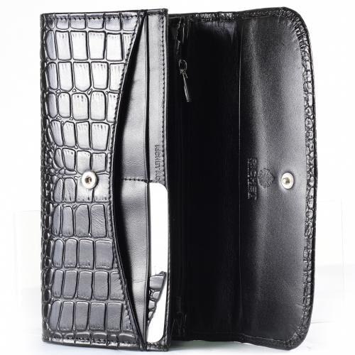 Кошелек 9,5x 18x 2cm ( высота x длина x ширина ) Элегантный кожаный кошелек, закрывается на кнопку. Подкладка из текстиля с отделкой из кожи. Два отделения для монет с застёжкой молнией. Два отде