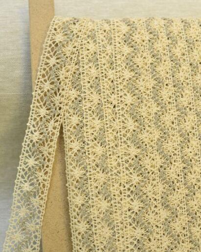 Кружево цв.молочный/серый, 34 мм, хлопок-100%