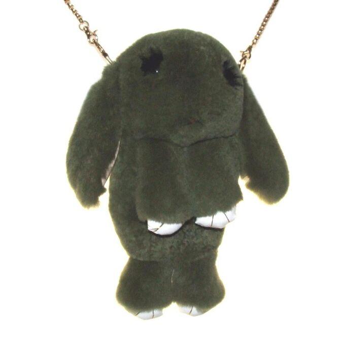 """Сумка-рюкзак 3D """"Меховой Кролик"""" на цепочке (натуральный мех) хаки"""