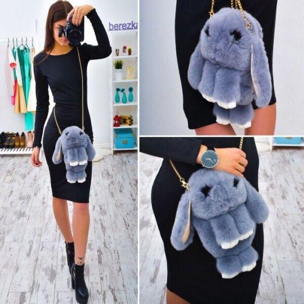 """Сумка-рюкзак 3D """"Меховой Кролик"""" на цепочке (натуральный мех) темно-синий"""