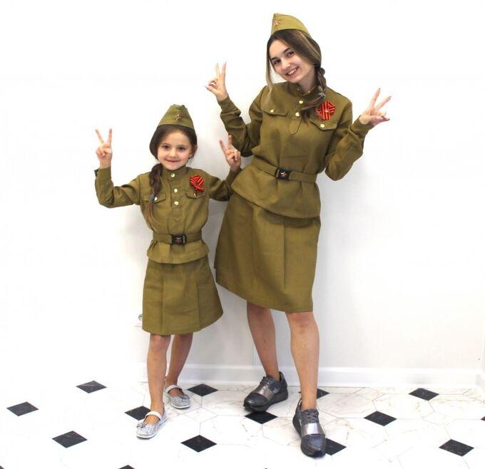 Детский костюм солдатки + оригинальная пилотка и ремень со звездой + георгиевская лента и звезда