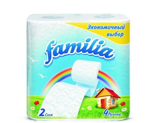 """Т/бумага """"Familia"""" белая Экономичный выбор, 2 слоя, 4 шт Радуга"""