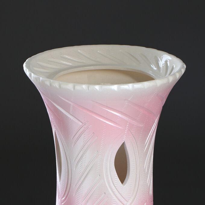 """Ваза напольная """"Глория"""", розовый цвет, резная, 68 см, микс, керамика"""