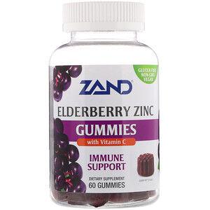 Zand, Жевательные таблетки с бузиной и цинком, с добавлением витамина C, 60 шт.