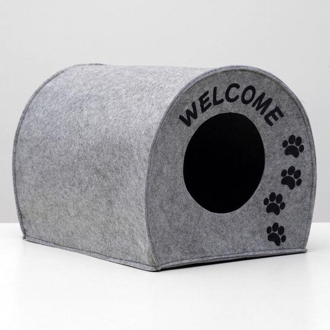 "Домик для животных из войлока ""Будка WELCOME"", 33 х 33 х 45 см"