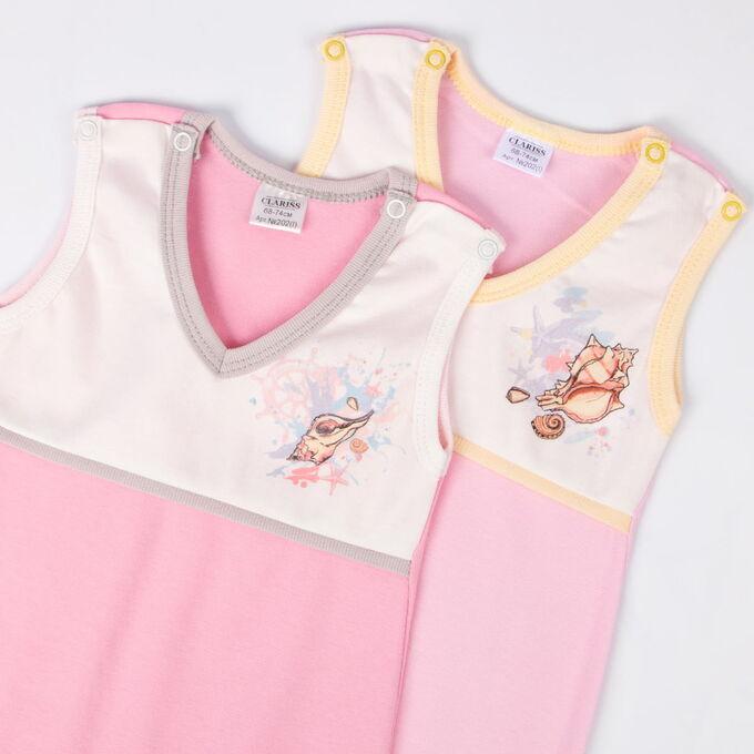 Ползунки ЦВЕТ: розовый в ассортименте,  Замеры модели* * рост указан приблизительно, ориентируйтесь на замеры *Размер 68-74 (рост 62-68 см). *Размер 74-80 (рост 68-74 см). Ползунки Clariss интерлок.