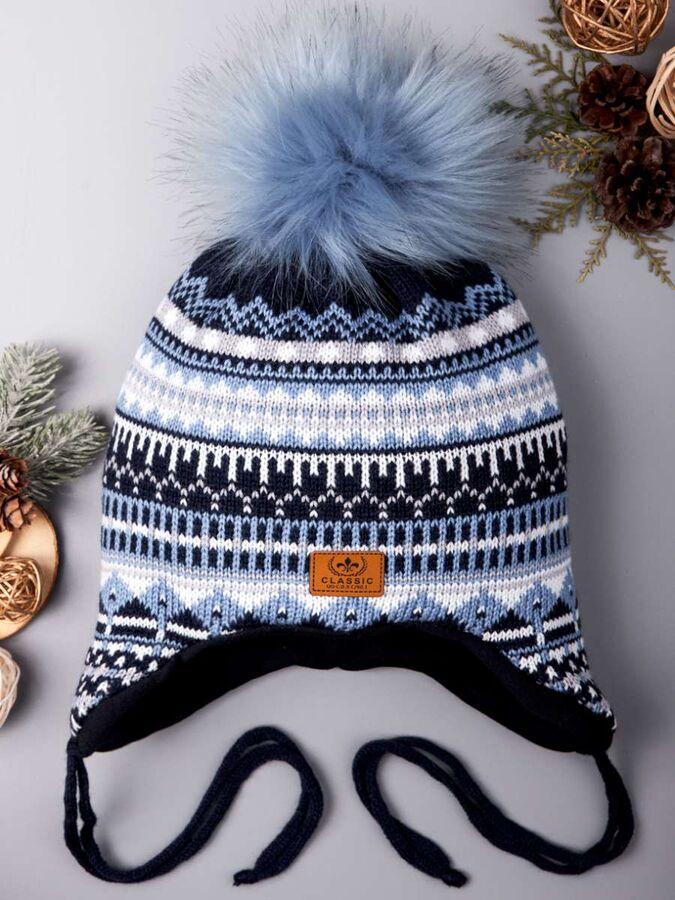Шапка вязаная для мальчика с темным на завязках, с орнаментом, нашивка classic, темно-голубой в Хабаровске