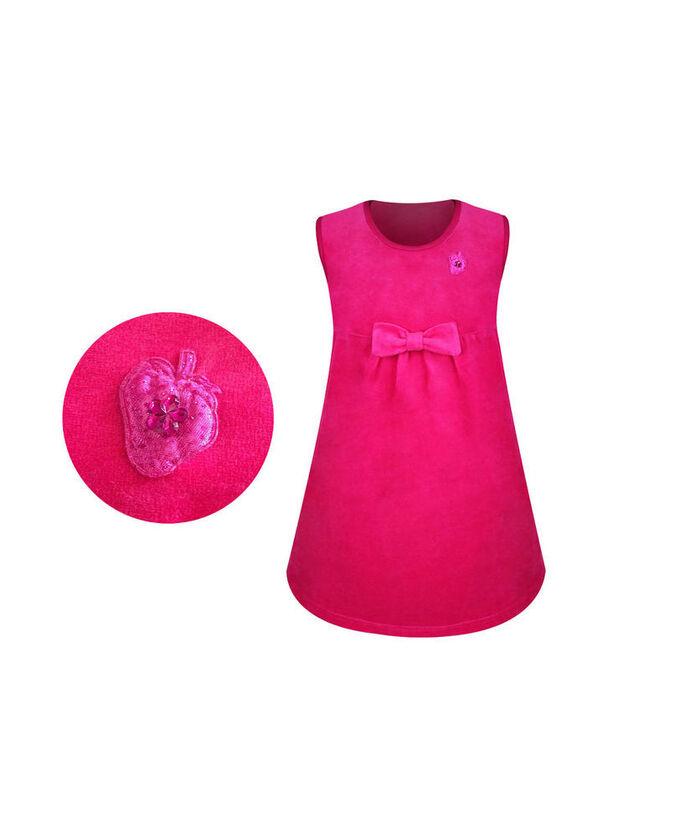 Велюровый малиновый сарафан для девочки Цвет: фуксия