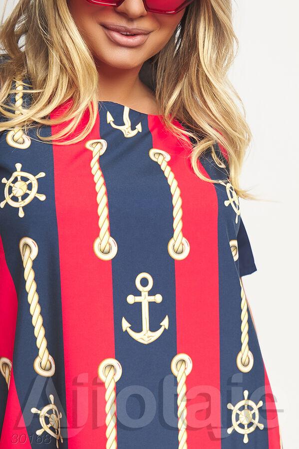 Платье миди в красную с синей полоску