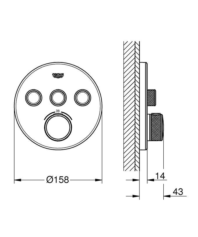"""Термостат 29904LS0 смеситель для душа с термостатом GROHTHERM SmartControl встраив.кнопочное упр. (белый/хром) Термостат скрытого монтажа Grohtherm SmartControl обладает великолепным обликом в цвете """""""