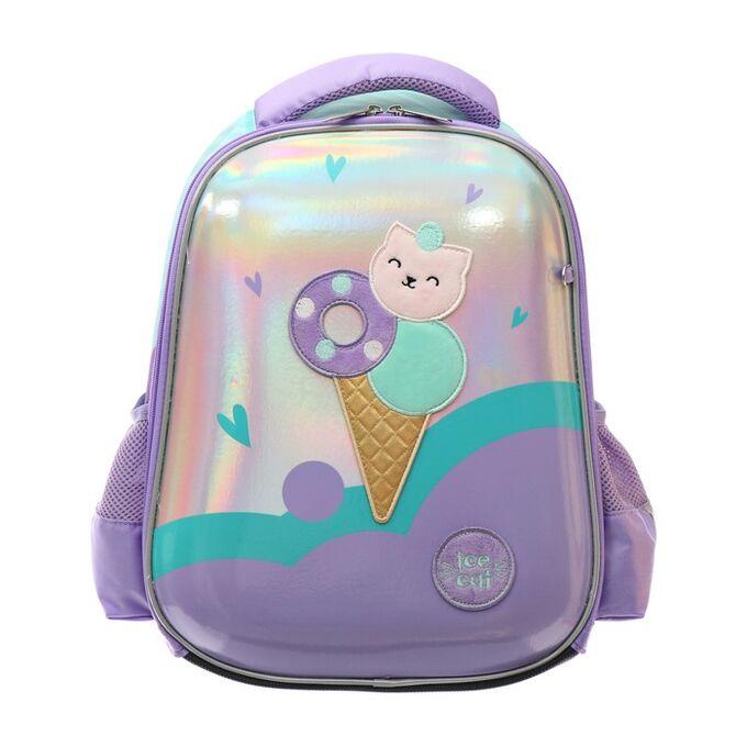 Рюкзак каркасный Hatber Ergonomic light 38 х 29 х 6, для девочки Sweet Cat, сиреневый