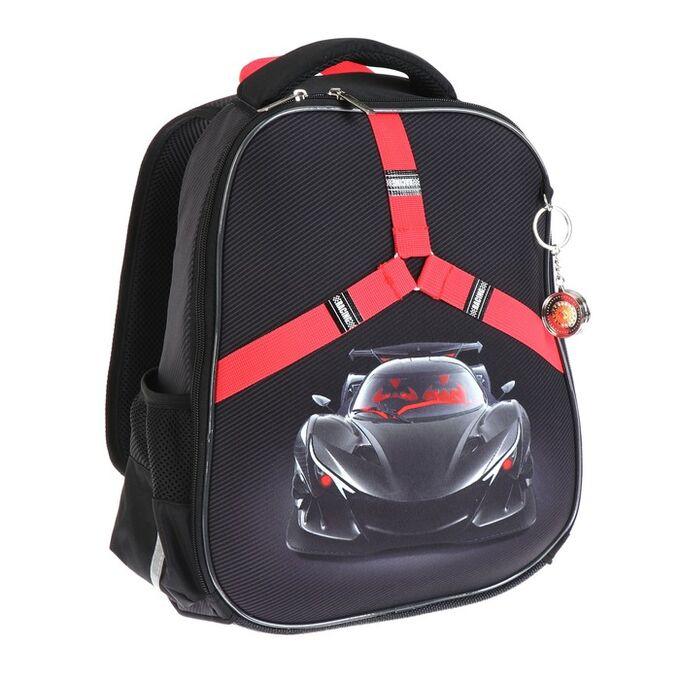Рюкзак каркасный Hatber Ergonomic light 38 х 29 х 16, для мальчика Racing Car, чёрный