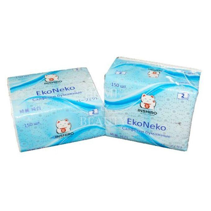 """Салфетки в мягкой упаковке  """"INSHIRO"""" EkoNeko   2-х. сл. белые  (150 шт.) 1/8/128  EN044"""