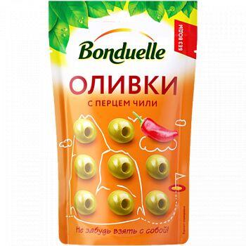 Bonduelle (Бондюэль) Оливки с перцем чили в мягкой упаковке (215 мл)