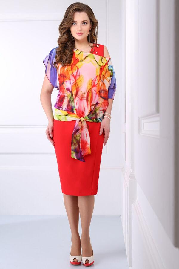Красный Примечание: замеры длин соответствуют размеру 54, рост 164 см. Длина платья: 108 см. Длина накидки: 64 см. Рукав платья: нет. Длина рукава накидки: 13 см. Подкладка платья: нет. Подкладка наки