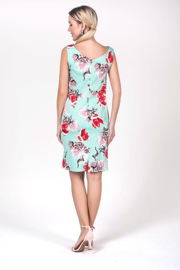 Платье Инесса №20.Цвет:мятный/цветы