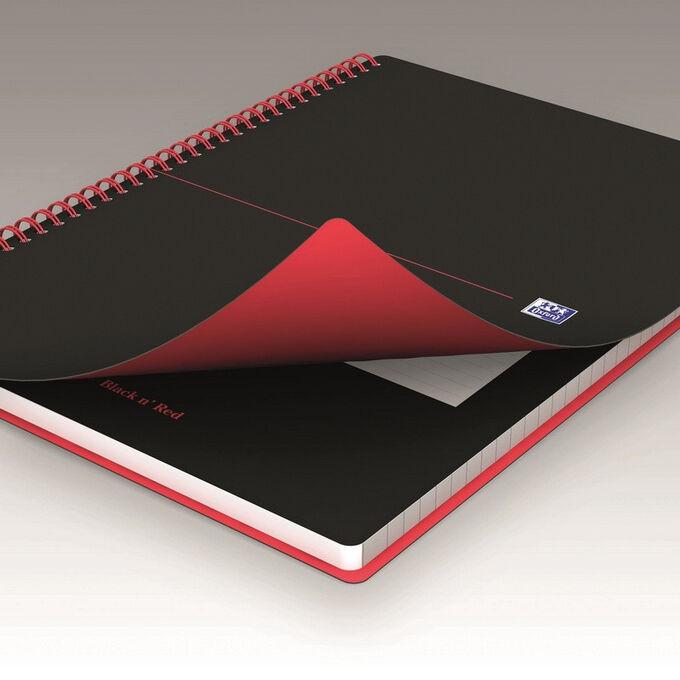 Блокнот OXFORD BLACK$n$RED А4 70л кл. дв.спир,пласт.обл,фикс.рез....